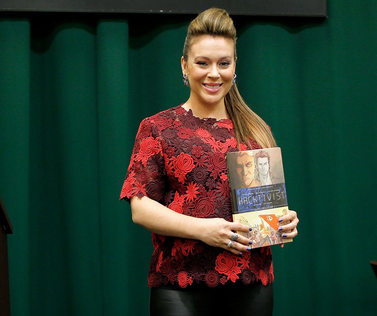 Alyssa Milano at Hacktivist book signing