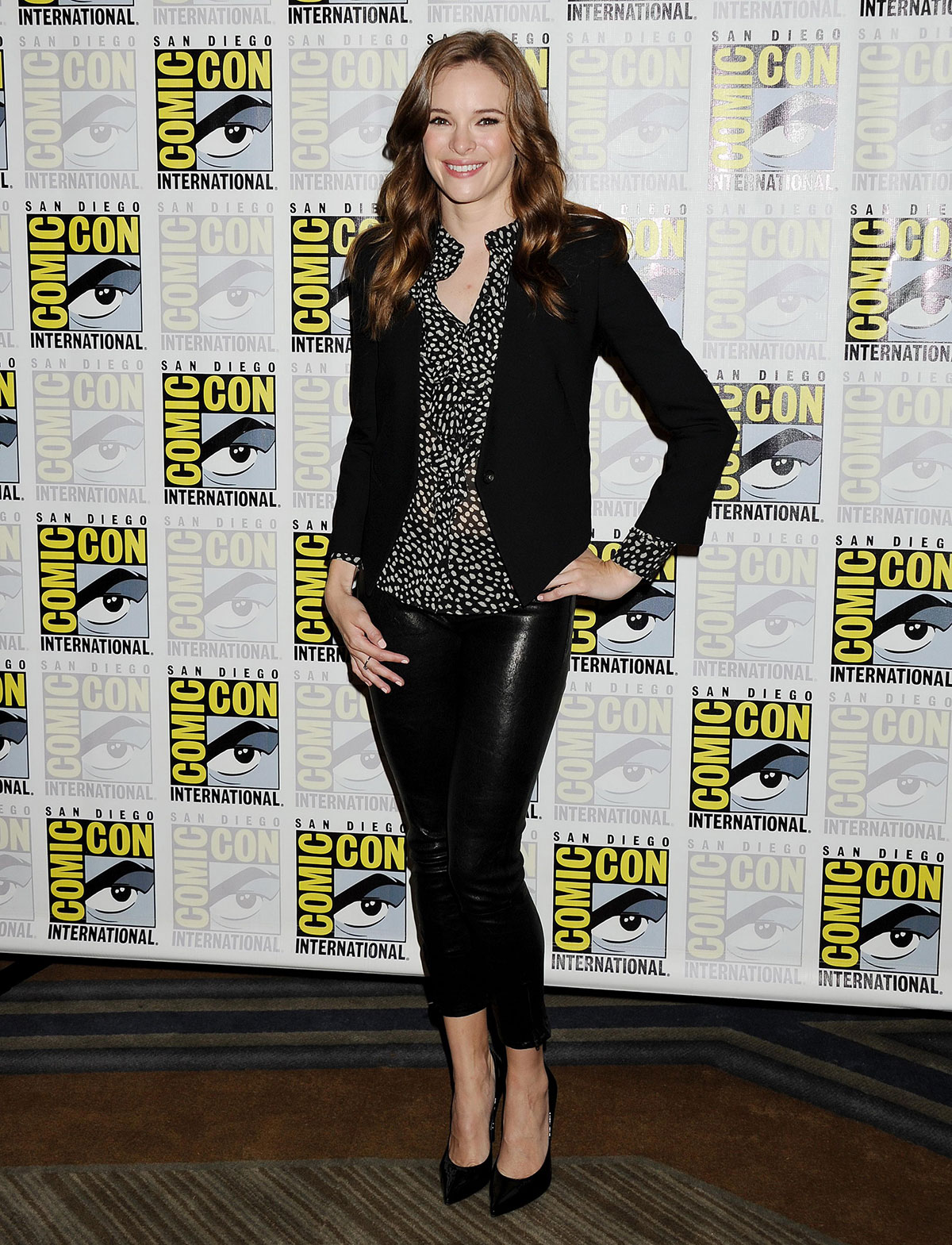Danielle Panabaker attends The Flash press line during Comic-Con