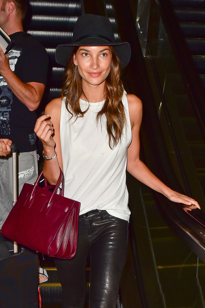 Lily Aldridge arrives at LAX Airport