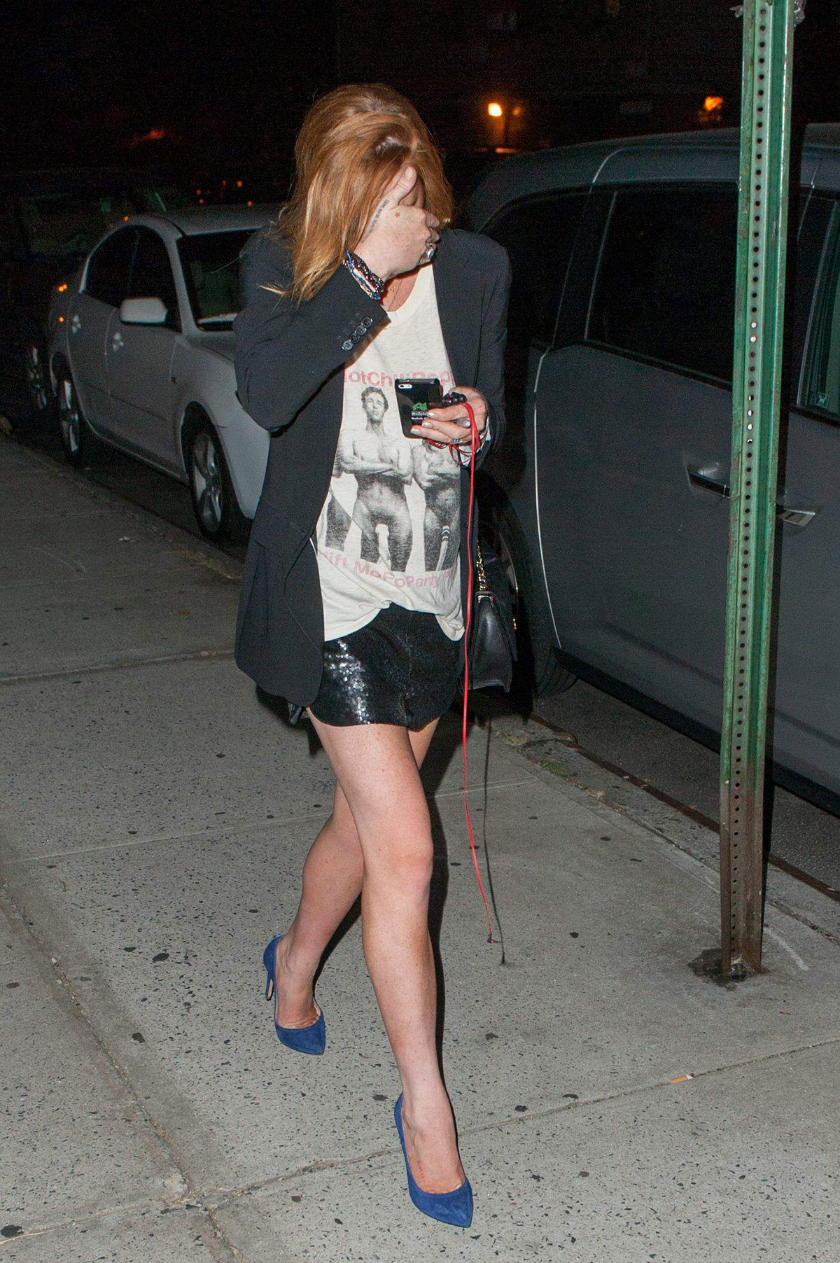 Lindsay Lohan out and about candids in New York
