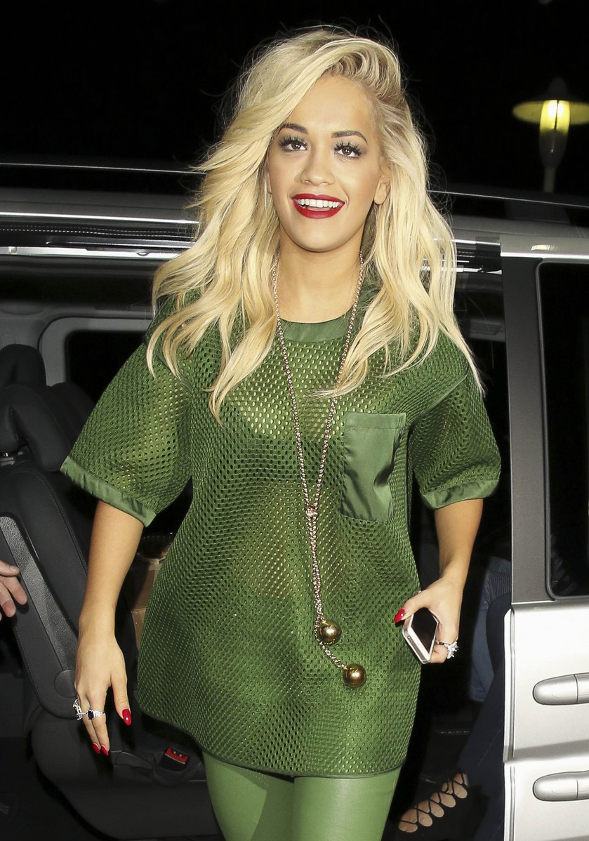 Rita Ora arrives at the Lowry Hotel in Manchester