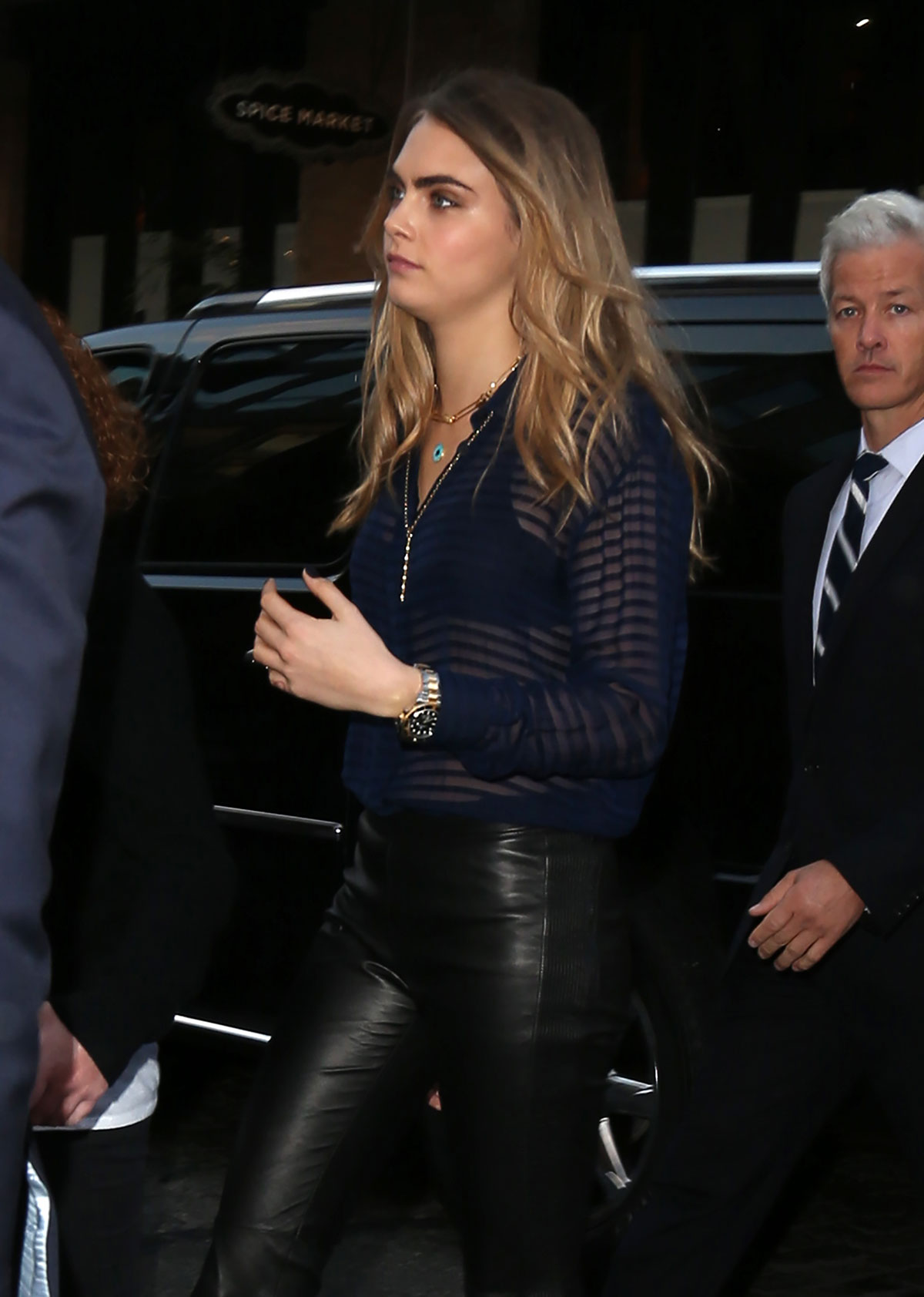Cara Delevingne was spotted at the celebration of the launch of My Burberry