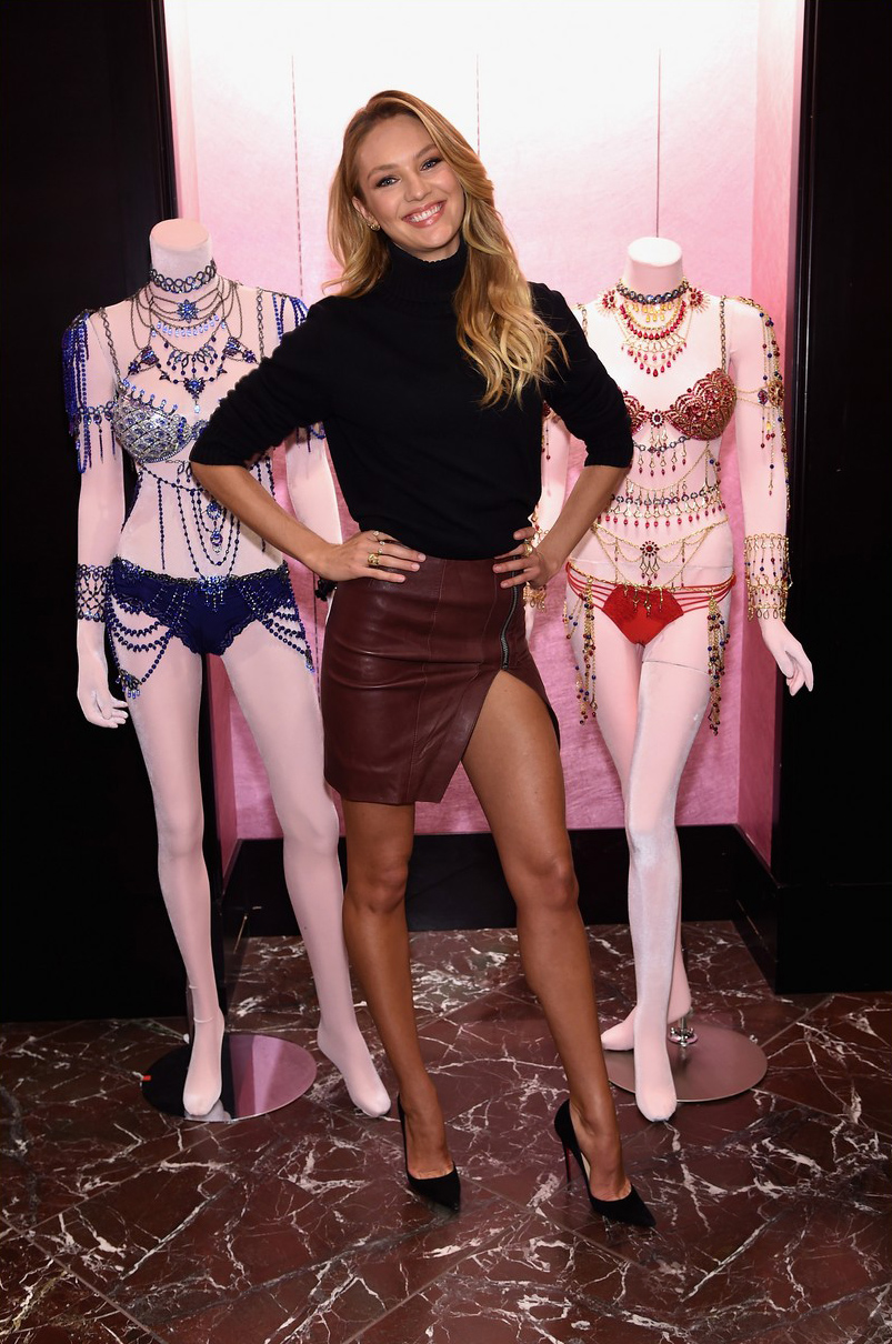 Candice Swanepoel posed with Victoria's Secret Holiday Gift Picks