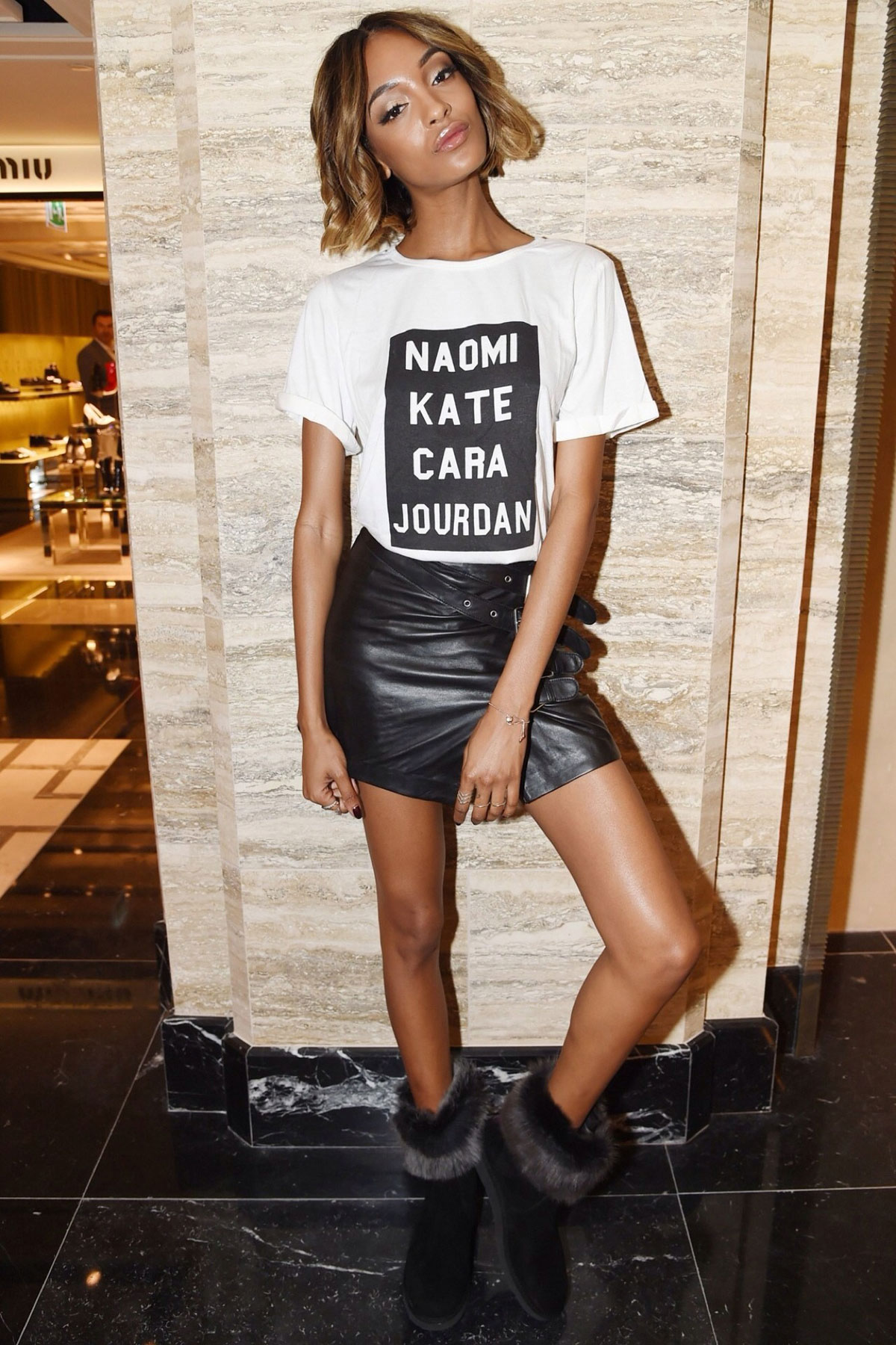 Jourdan Dunn at the Harrods Shoe Heaven Launch Party