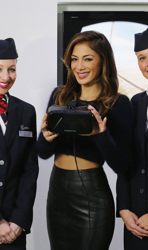 Nicole Scherzinger hangs out with a group of British Airways flight attendants