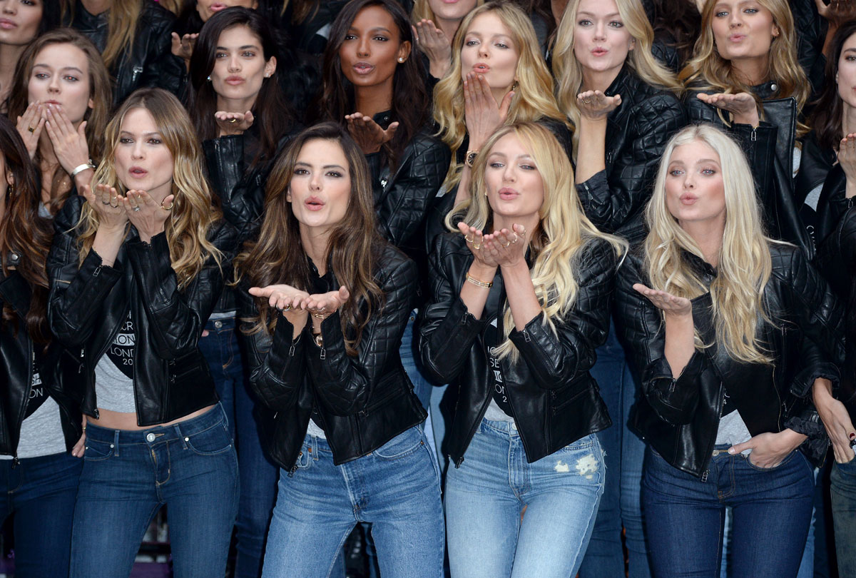 VS Angels attend the 2014 Victoria's Secret Fashion Show Photocall