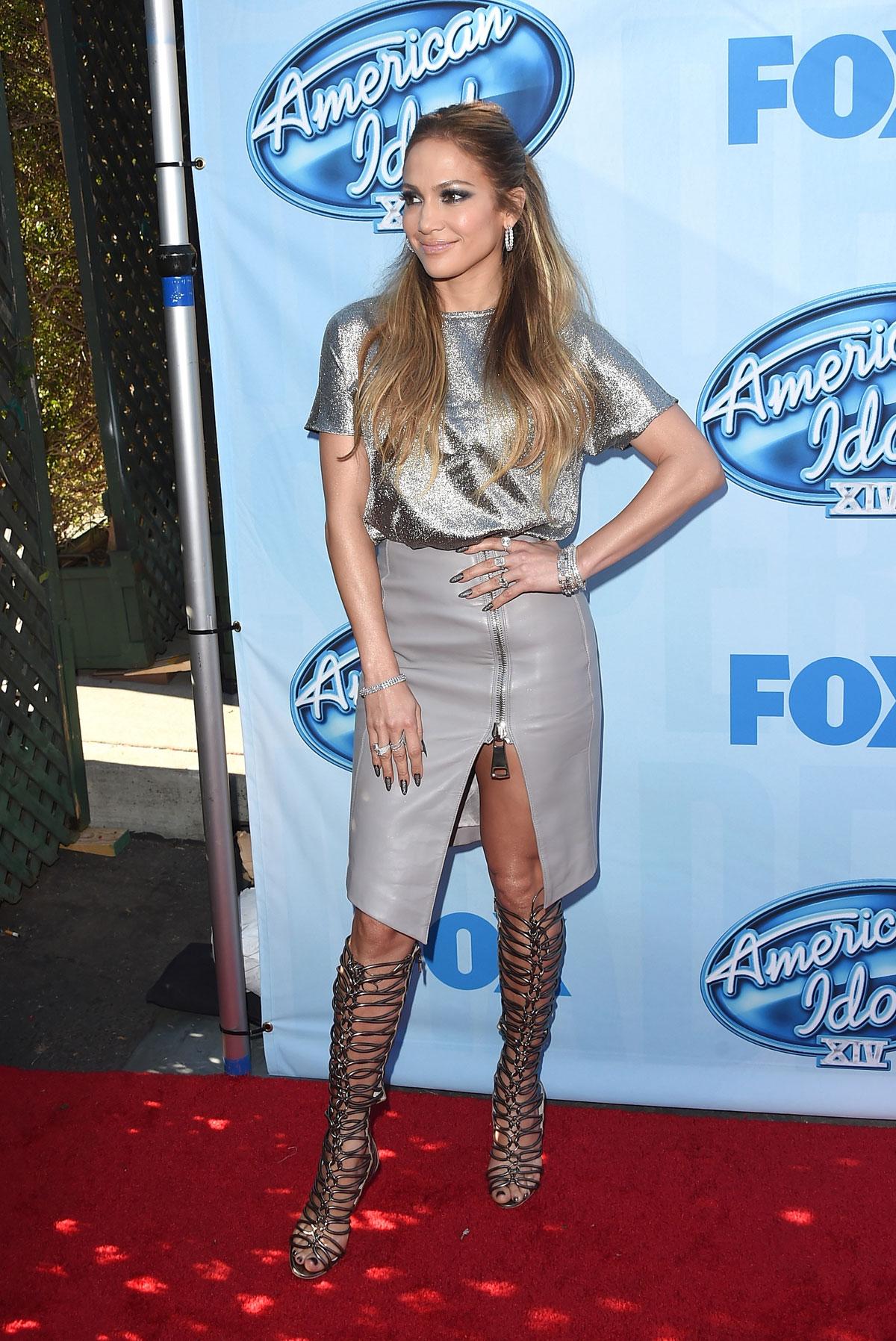 Jennifer Lopez attends American Idol XIV Red Carpet Event