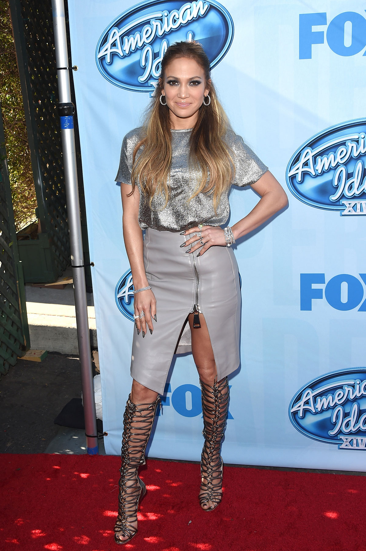 Jennifer Lopez attends American Idol XIV Red Carpet Event