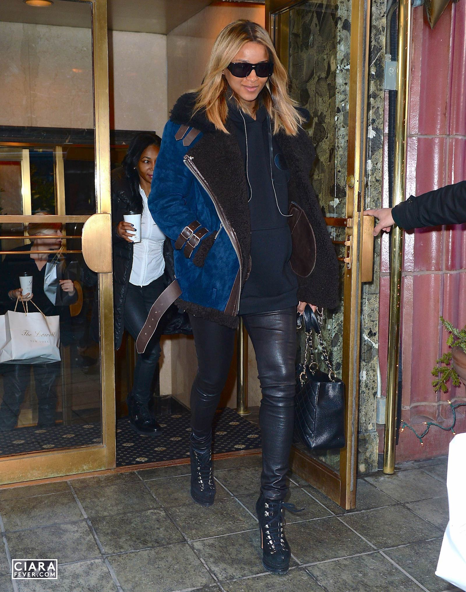 Ciara heads to the airport in New York City