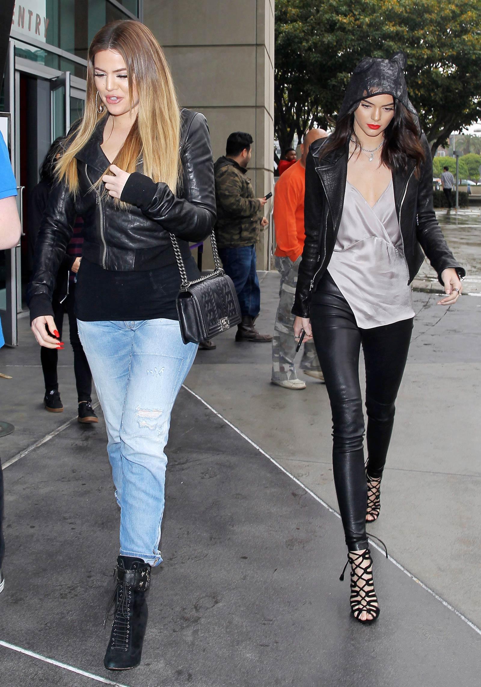 Kendall Jenner & Khloe Kardashian leave the Staples Center