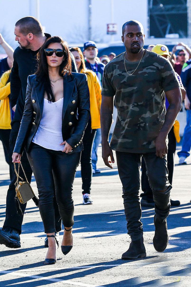 Kim Kardashian arrives for the 2015 Super Bowl