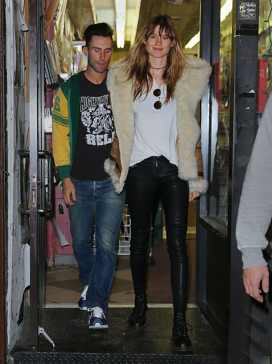 Behati Prinsloo exits the What Goes Around Comes Around vintage store