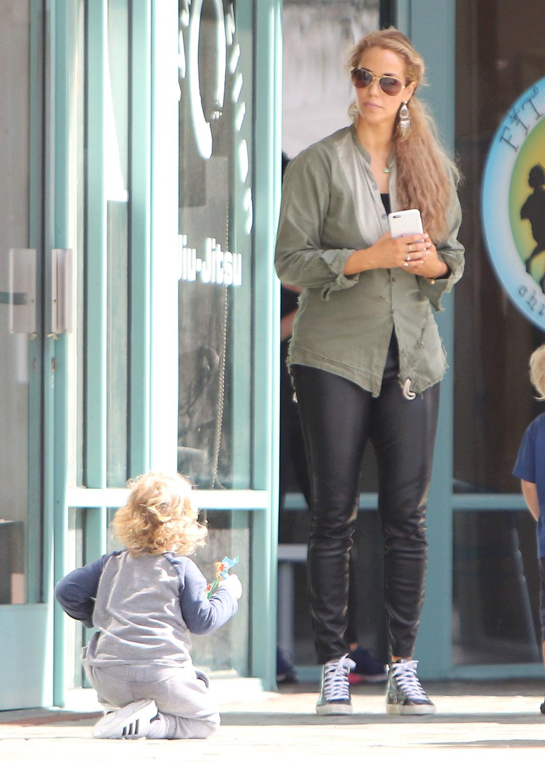 Elizabeth Berkley at a mommy and me class in Beverly Hills