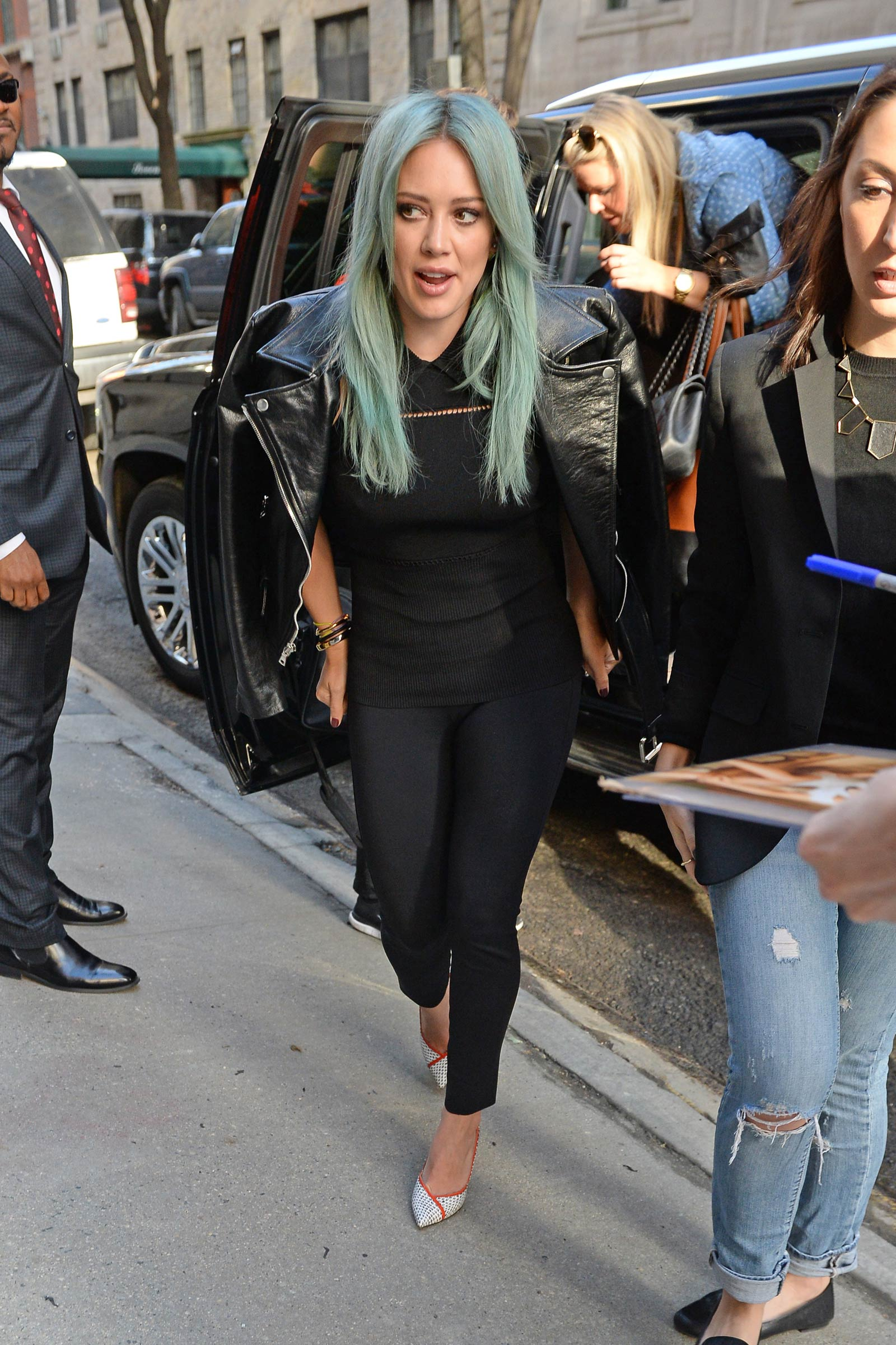 Hilary Duff arriving at The Chew in NYC