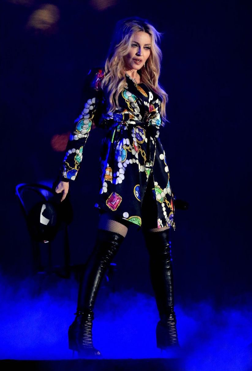 Madonna on the stage during the 2015 Coachella Music Festival