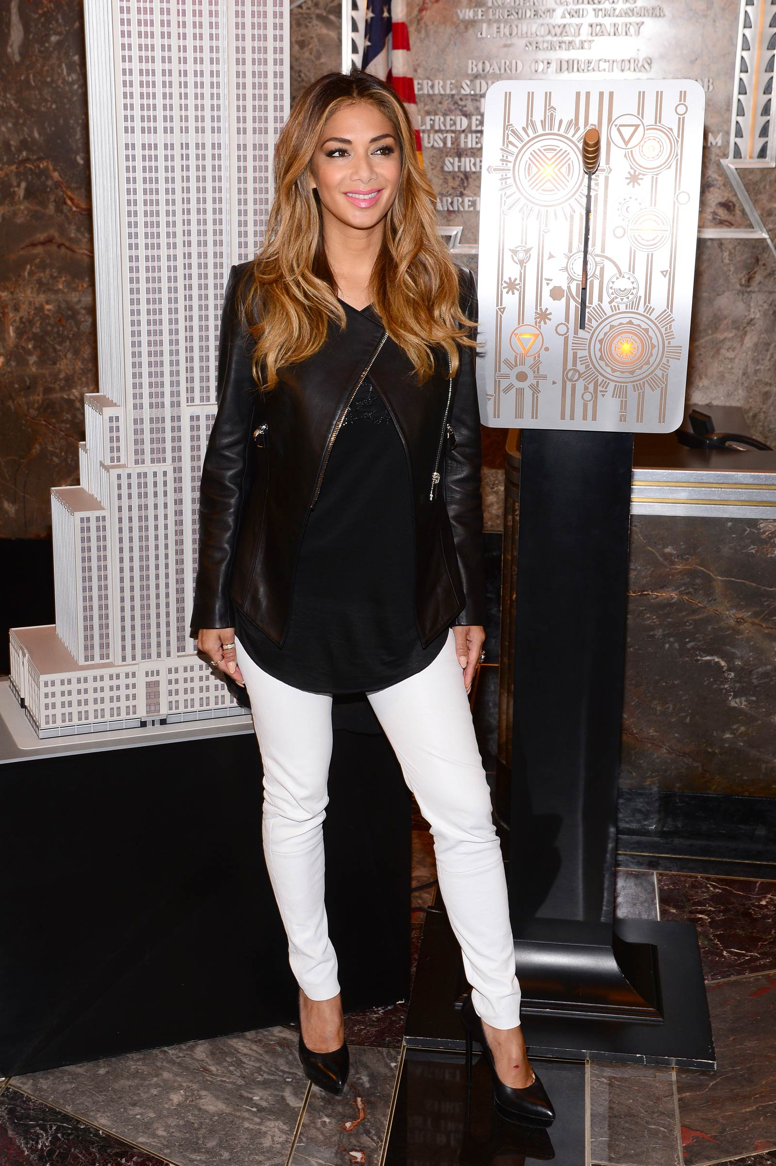 Nicole Scherzinger at Empire State Building celebrating Red Nose Day