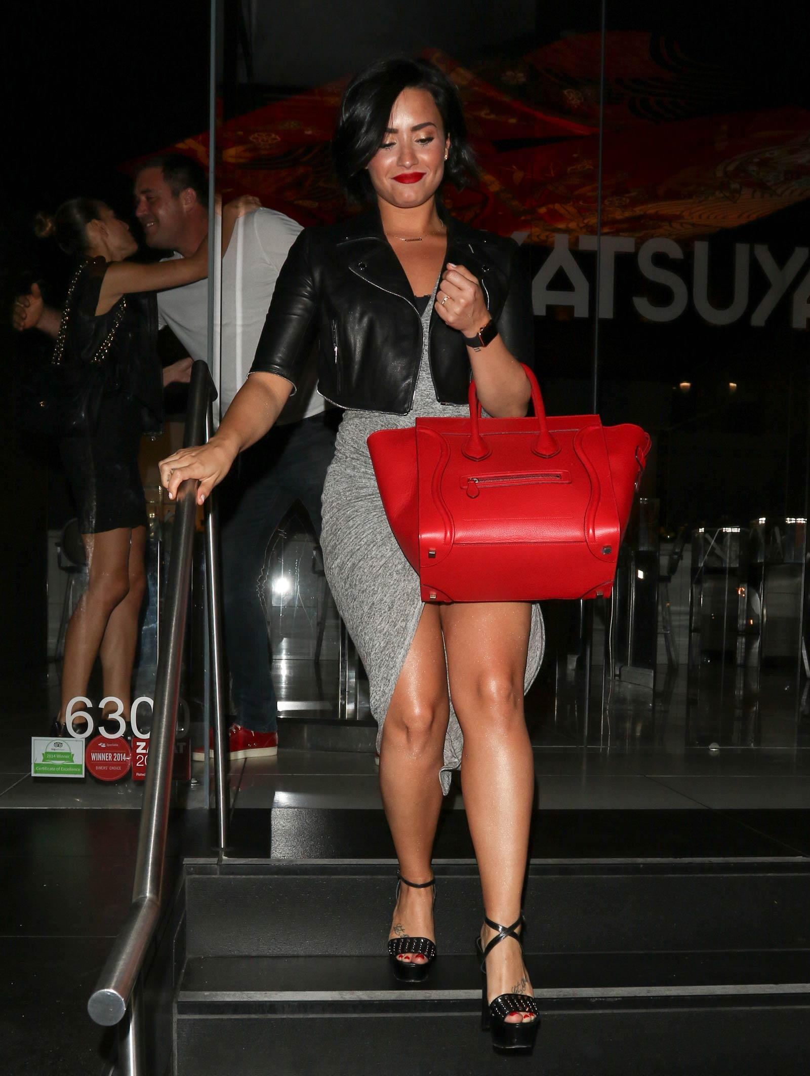 Demi Lovato leaving Katsuya Restaurant