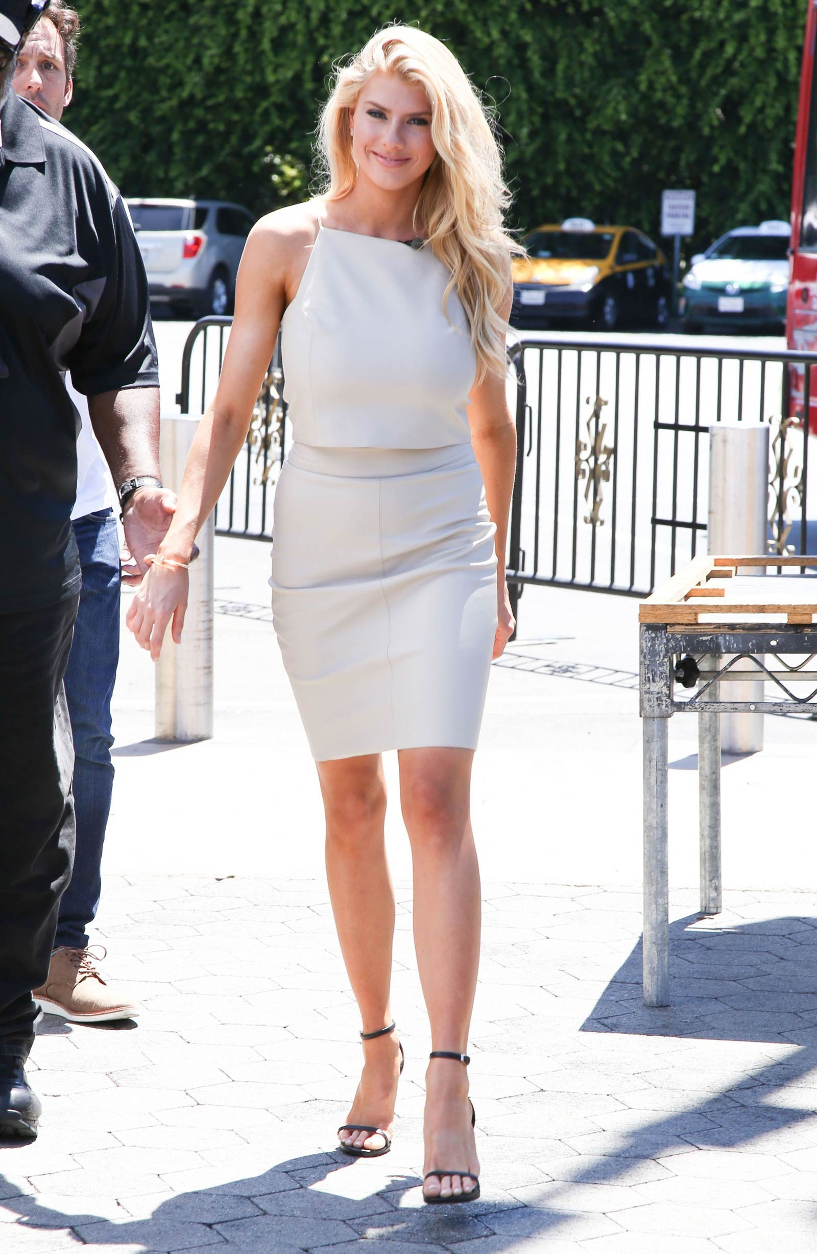 Charlotte McKinney on the set of Extra