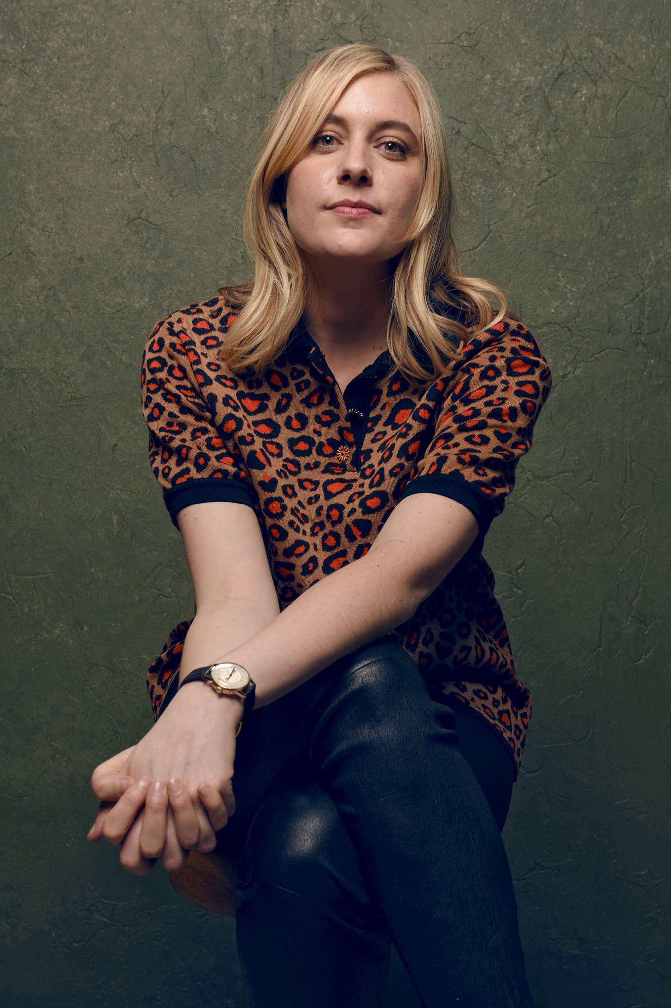 Greta Gerwig at a photocall for the film Mrs Americ