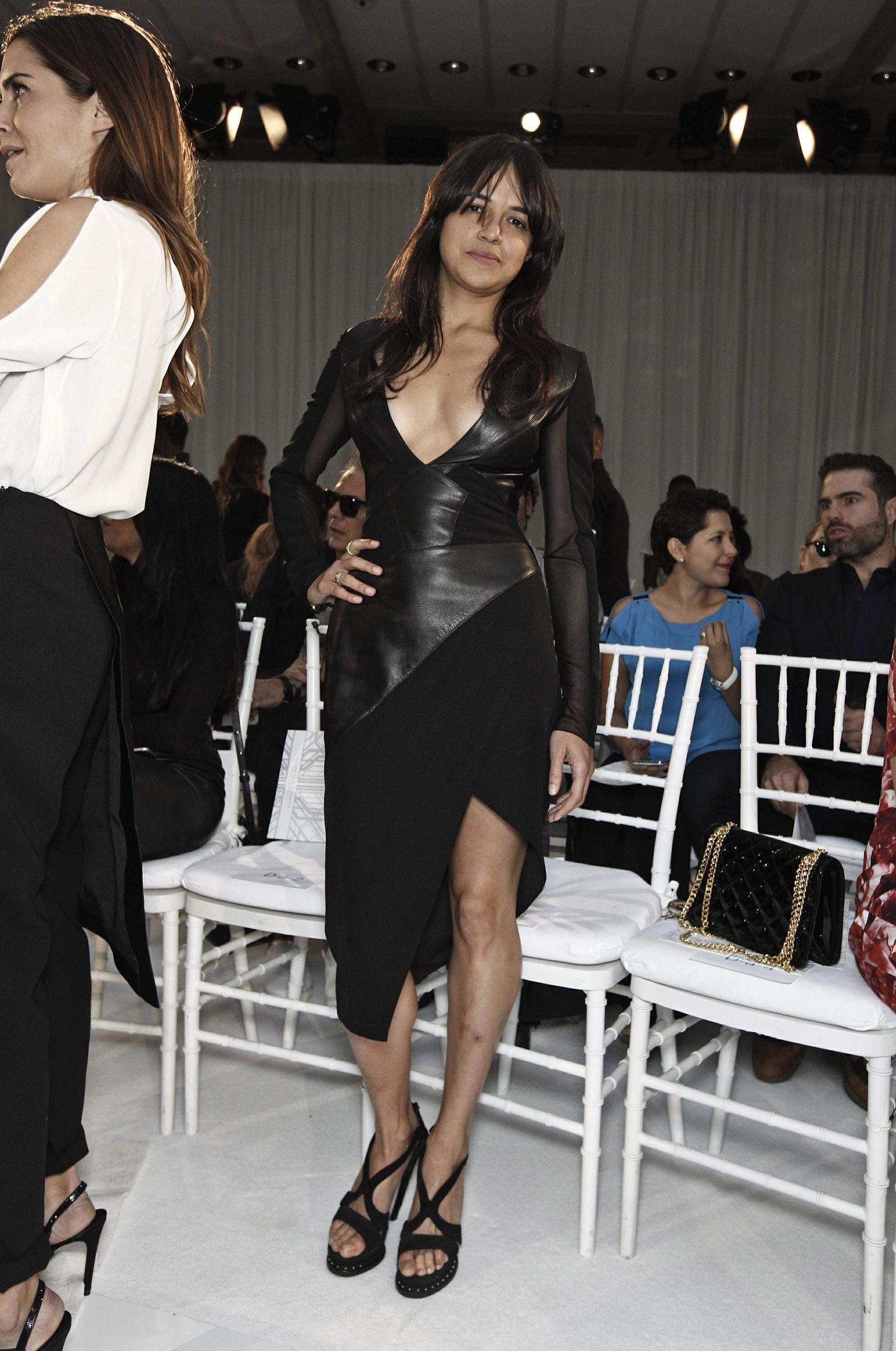 Michelle Rodriguez poses at the Gabriela Cadena Spring 2016 Fashion Show