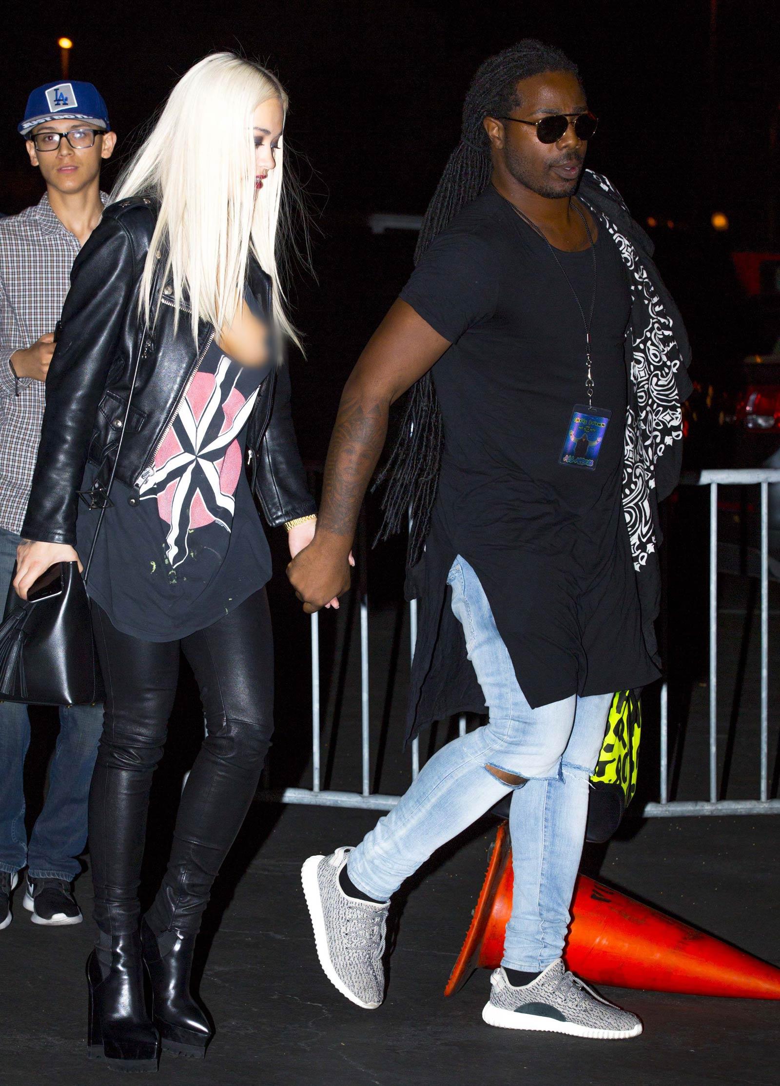 Rita Ora leaving a Chris Brown concert