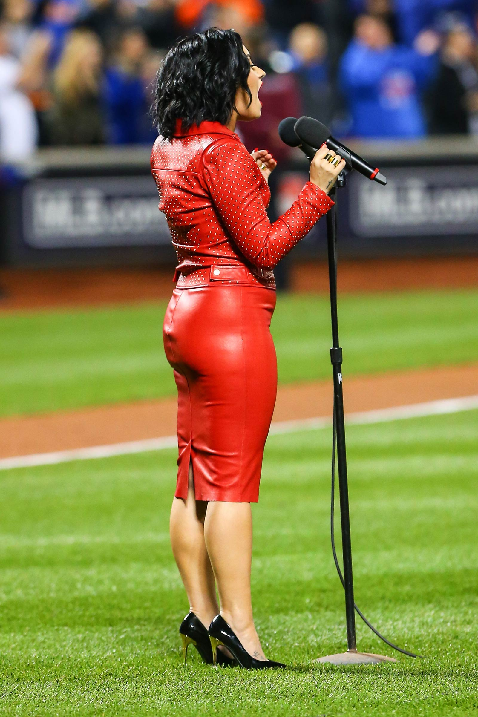 Demi Lovato performing at the World Series