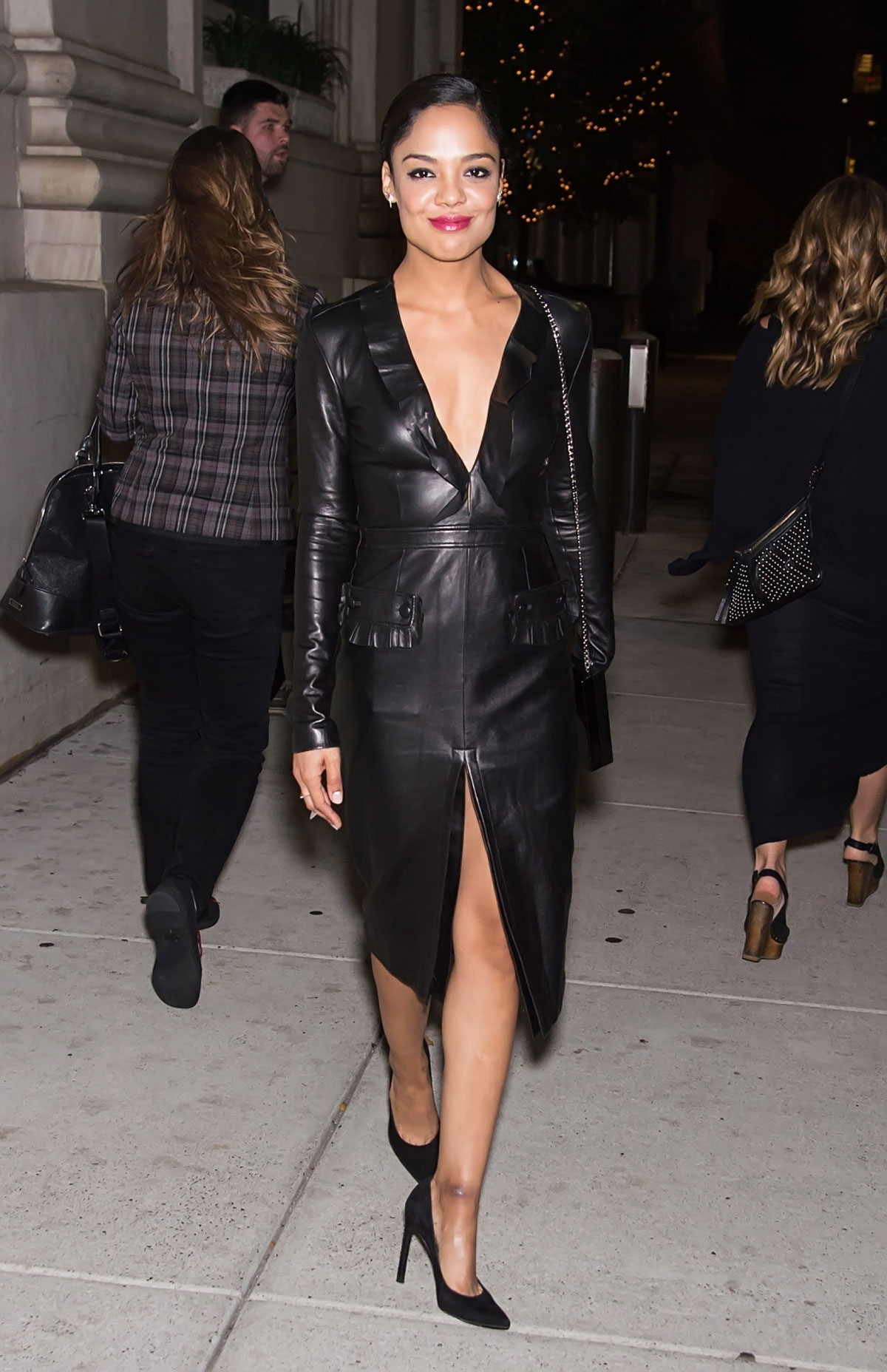 Tessa Thompson seen leaving a private screening of her new movie Creed