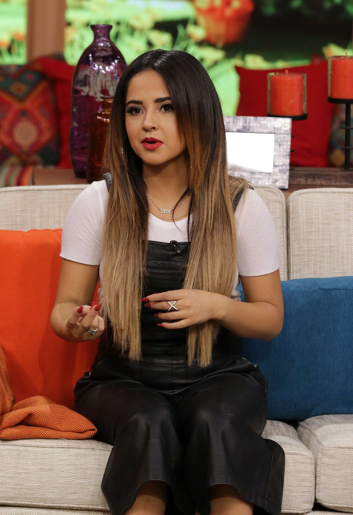 Becky G is seen on the set of Despierta America