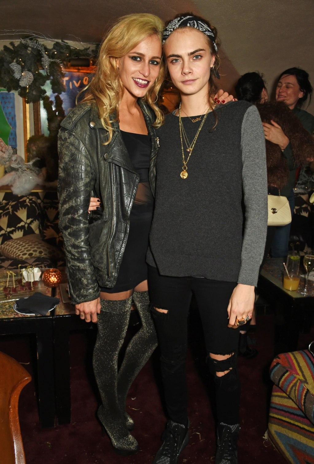 Alice Dellal, Poppy & Cara Delevingne attend LOVE Magazine Christmas Party