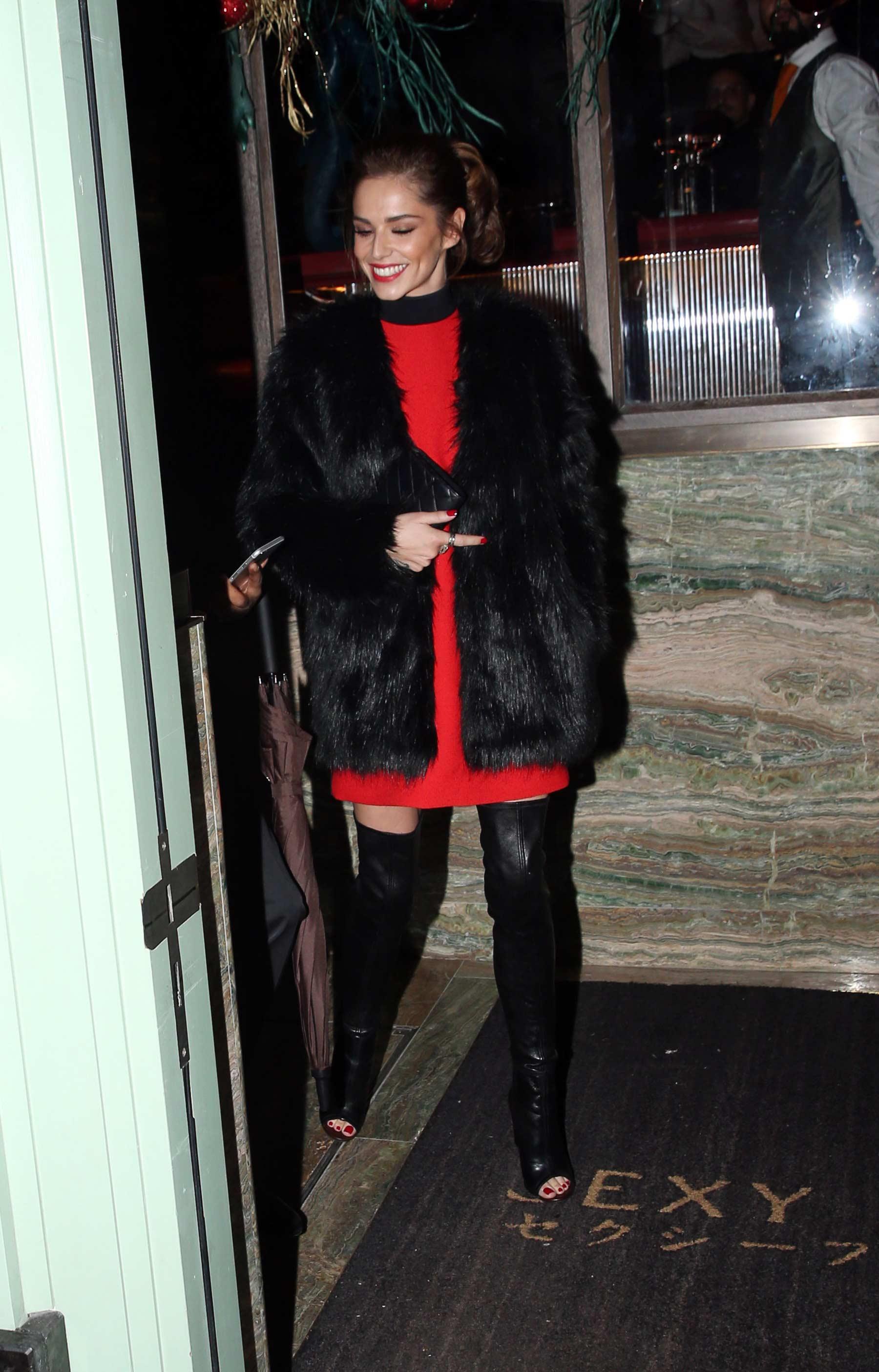 Cheryl Fernandez-Versini seen arriving at Sexy Fish restaurant
