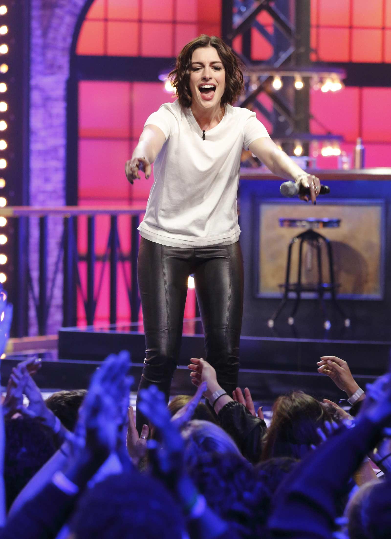 Anne Hathaway at Lip Sync Battle