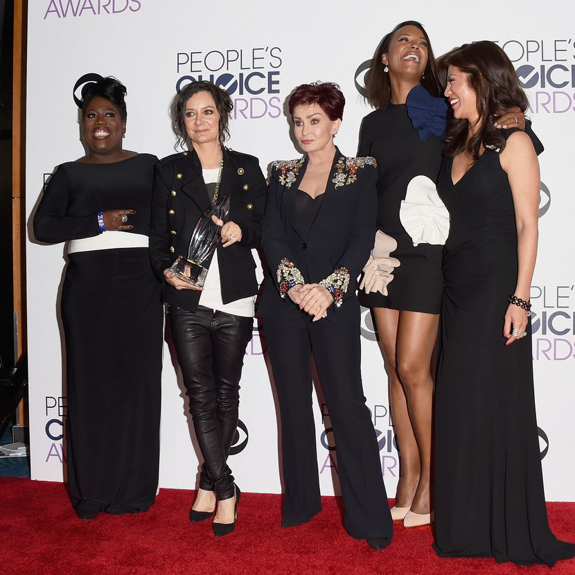 Sara Gilbert pose in the press room at the 2016 People's Choice Awards