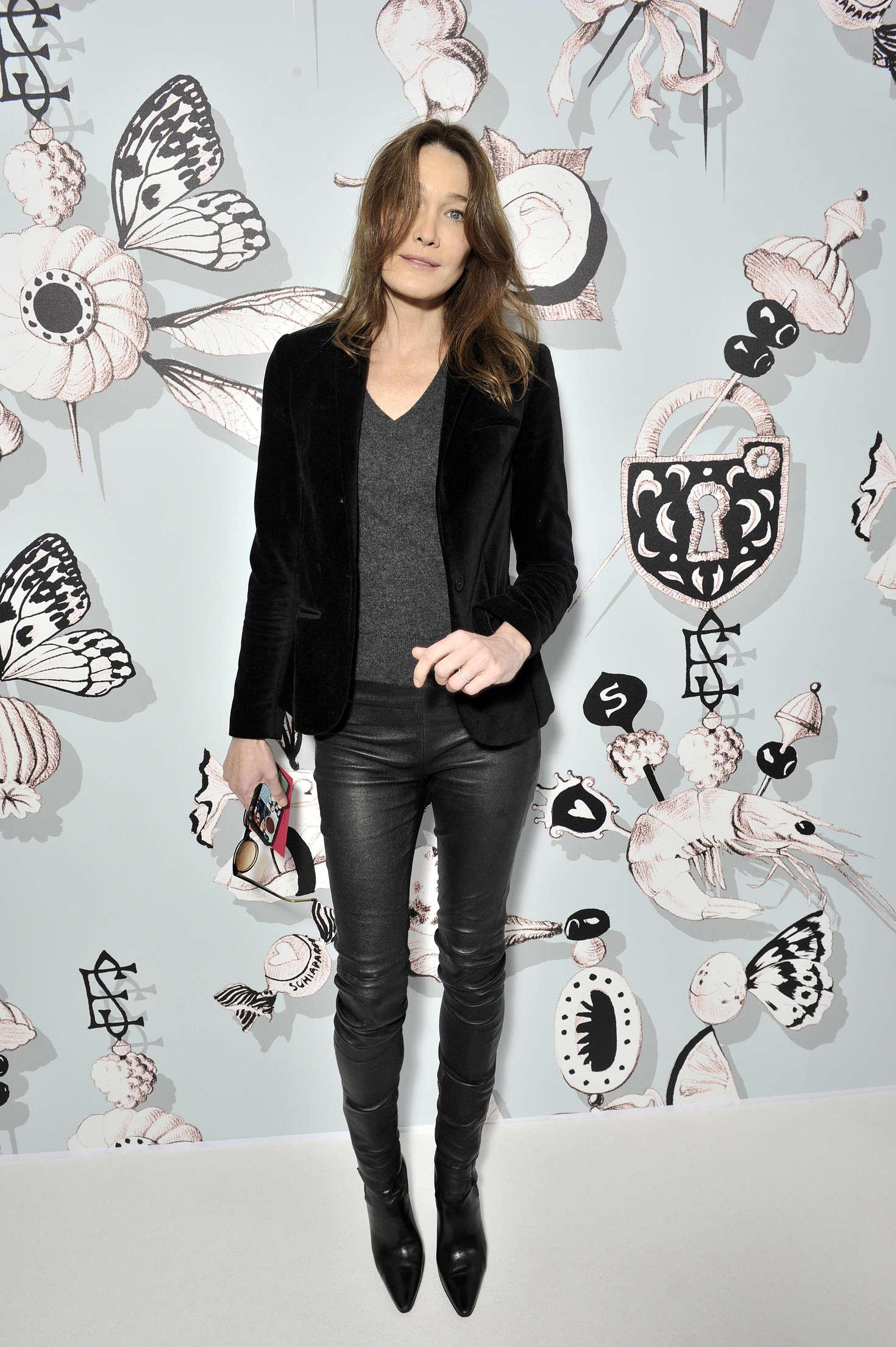 Carla Bruni attends People at Haute Couture Fashion Show Schiaparelli