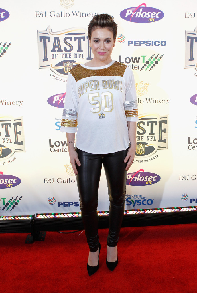Alyssa Milano attends Taste of the NFL 25th anniversary Party
