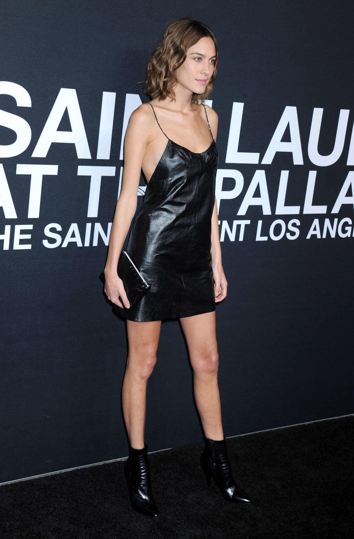 Alexa Chung attends Saint Laurent show