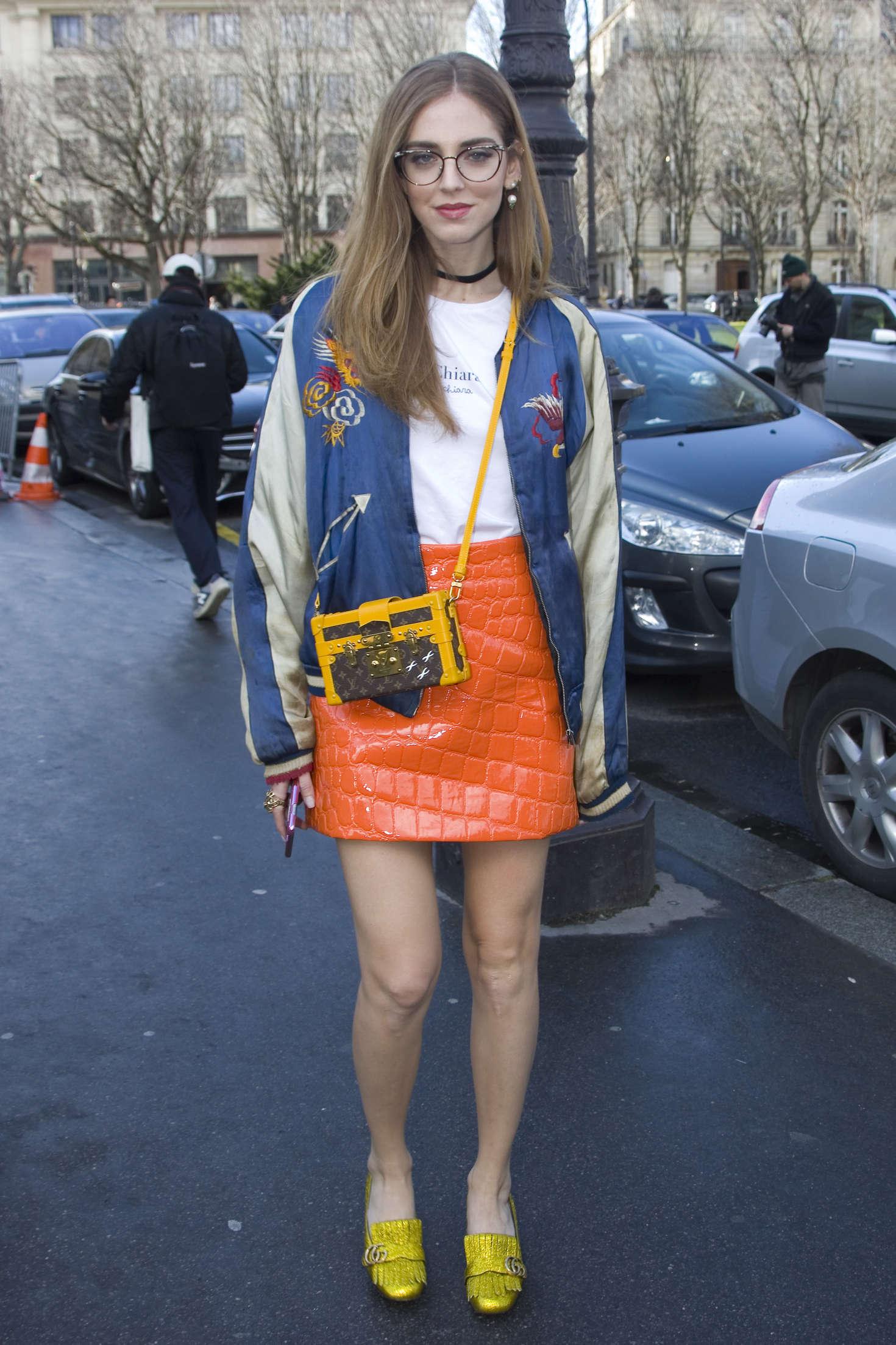 Chiara Ferragni arriving the Giambattista Valli Fashion Show