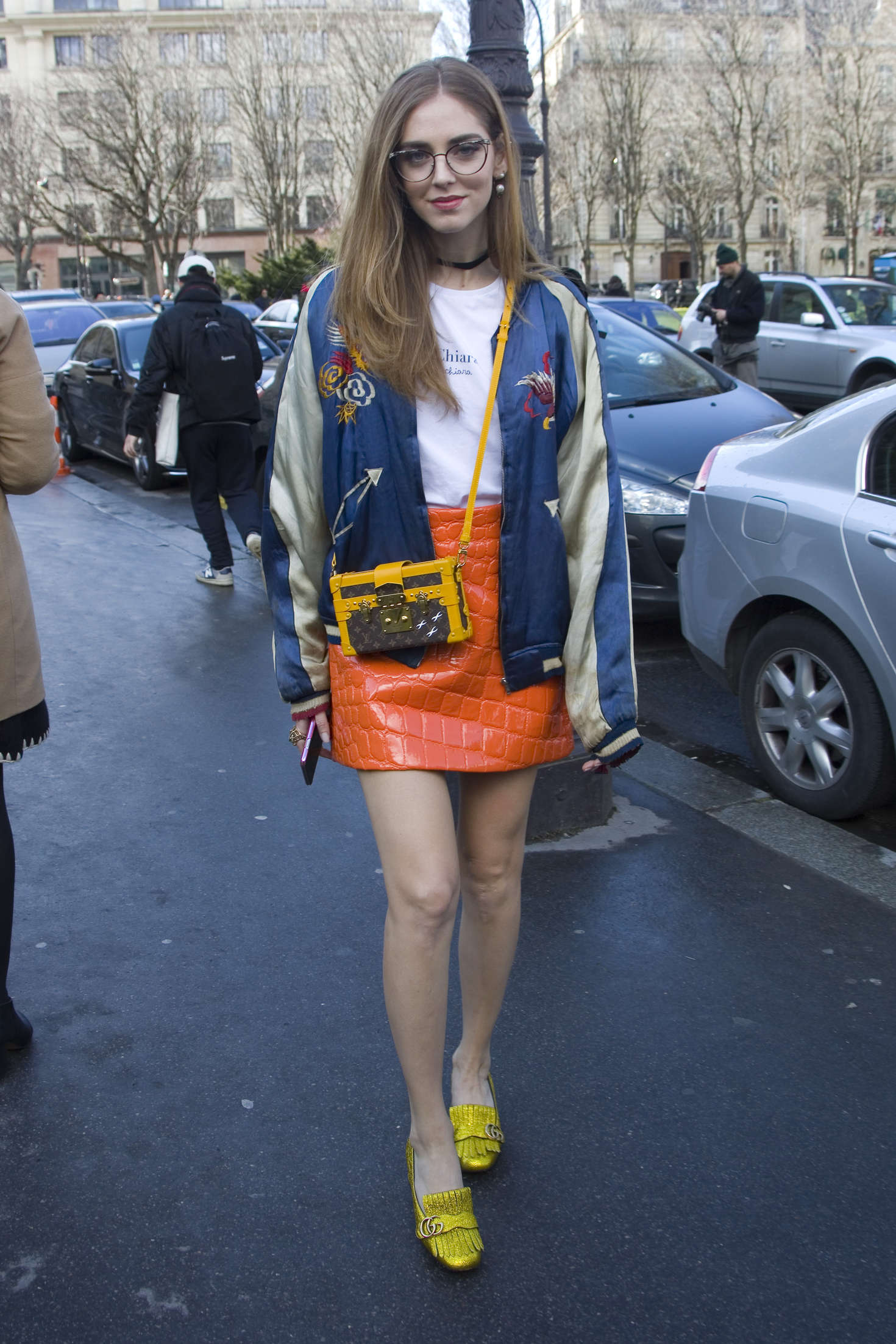Chiara Ferragni arriving the Giambattista Valli Fashion Show