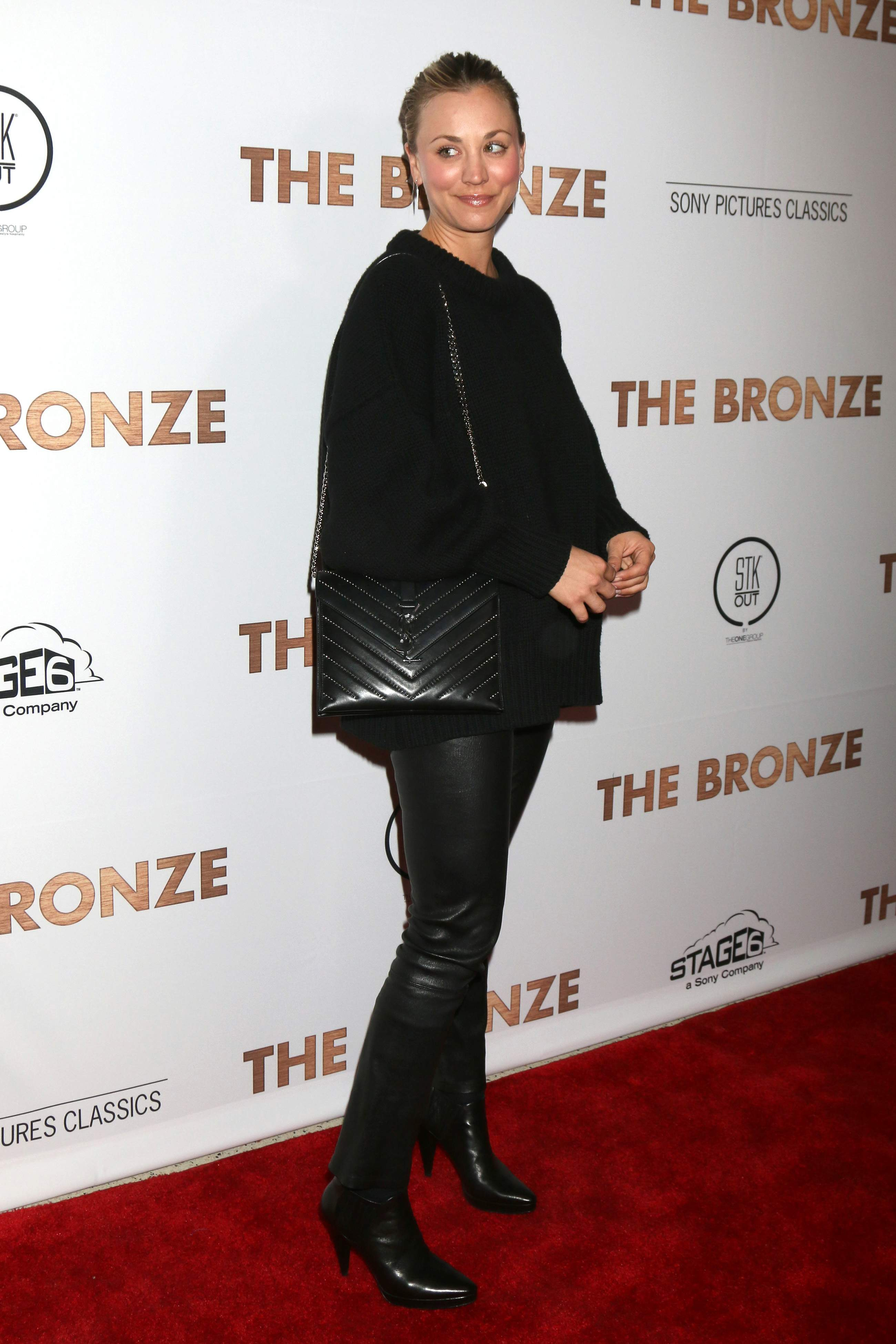 Kaley Cuoco attends the premiere of The Bronze