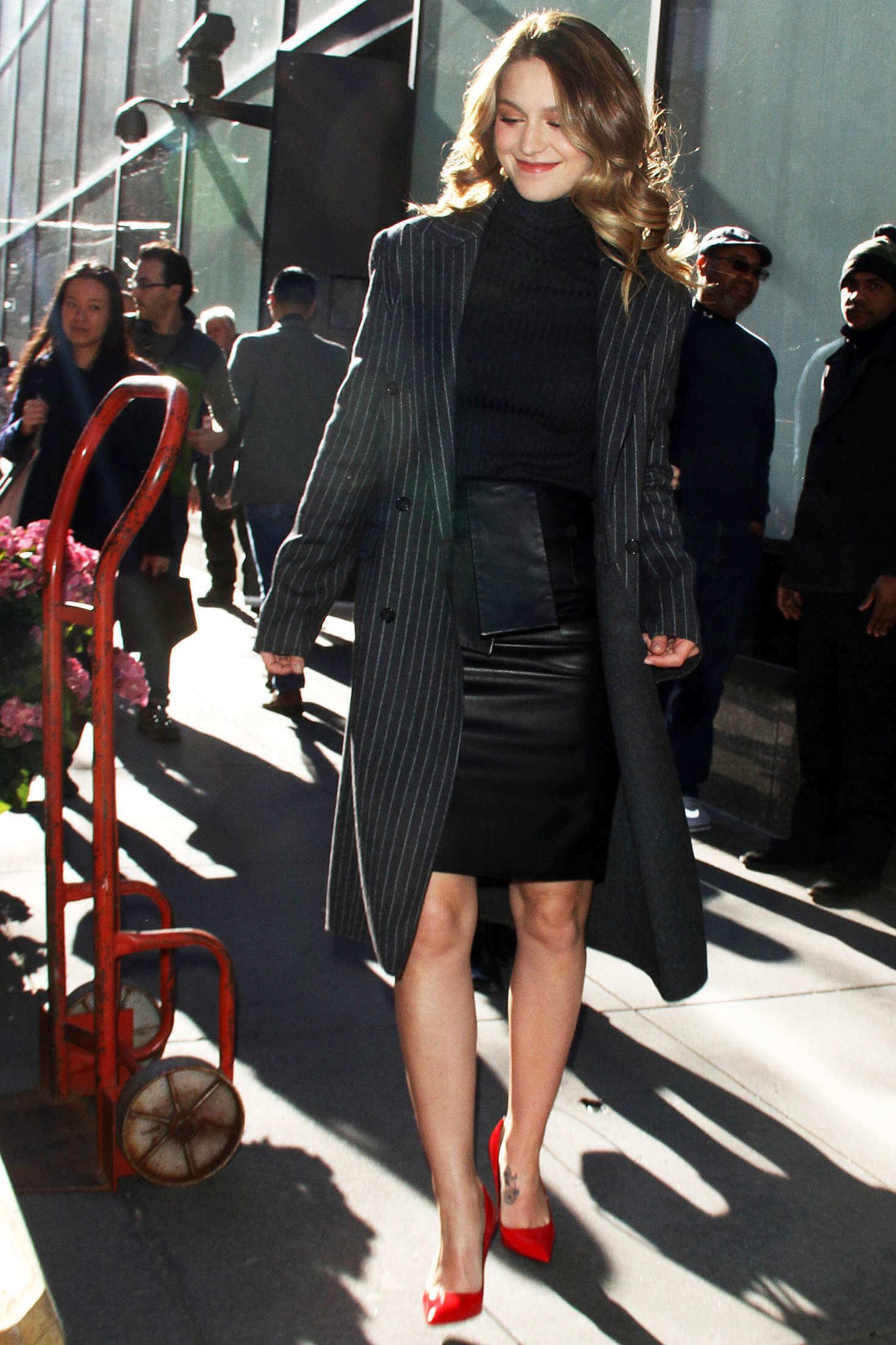 Melissa Benoist candids in New York