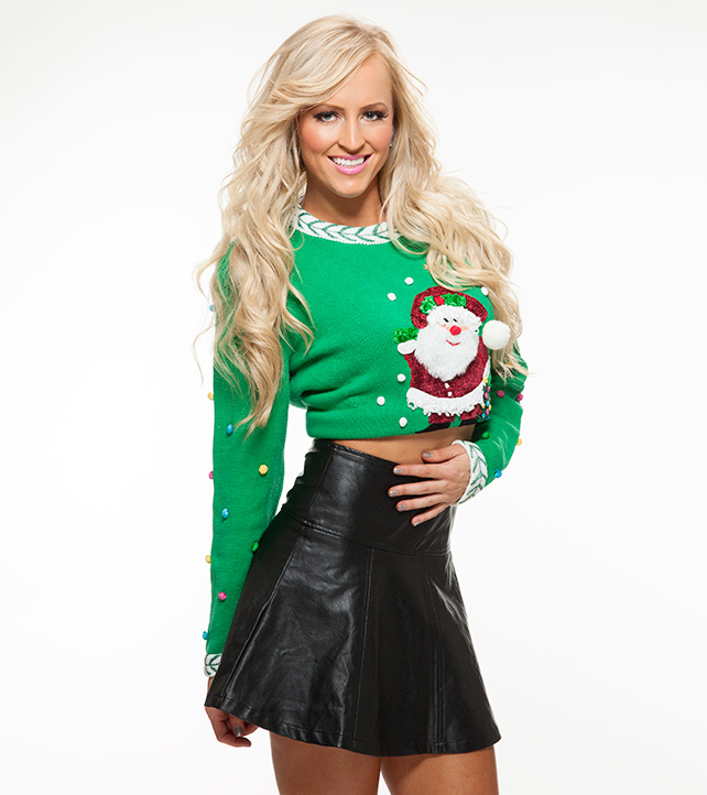 Danielle Moinet photoshoot for WWE Christmas Sweater