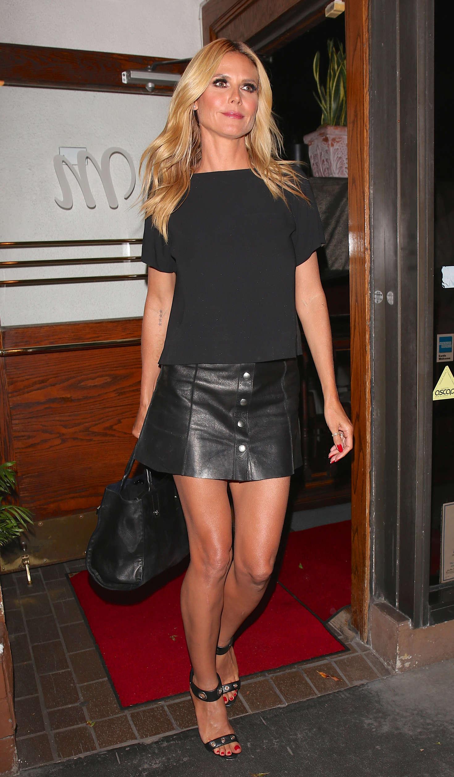 Heidi Klum leaving Madeo Restaurant