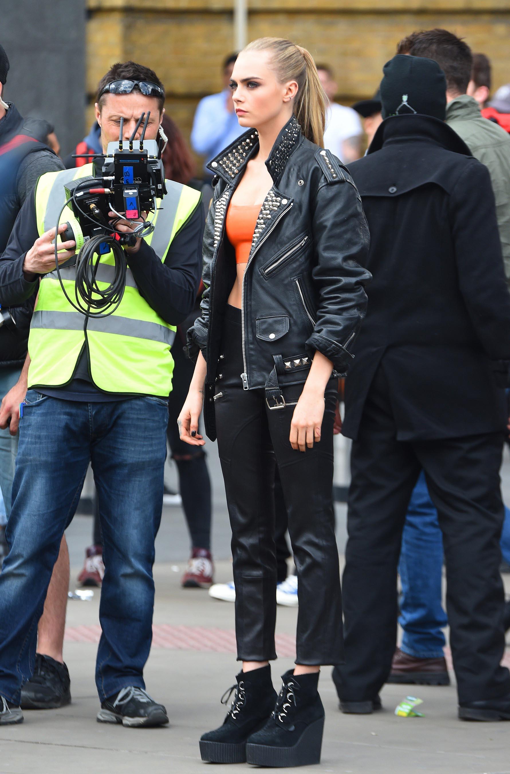Cara Delevingne on set of a shooting for Rimmel London