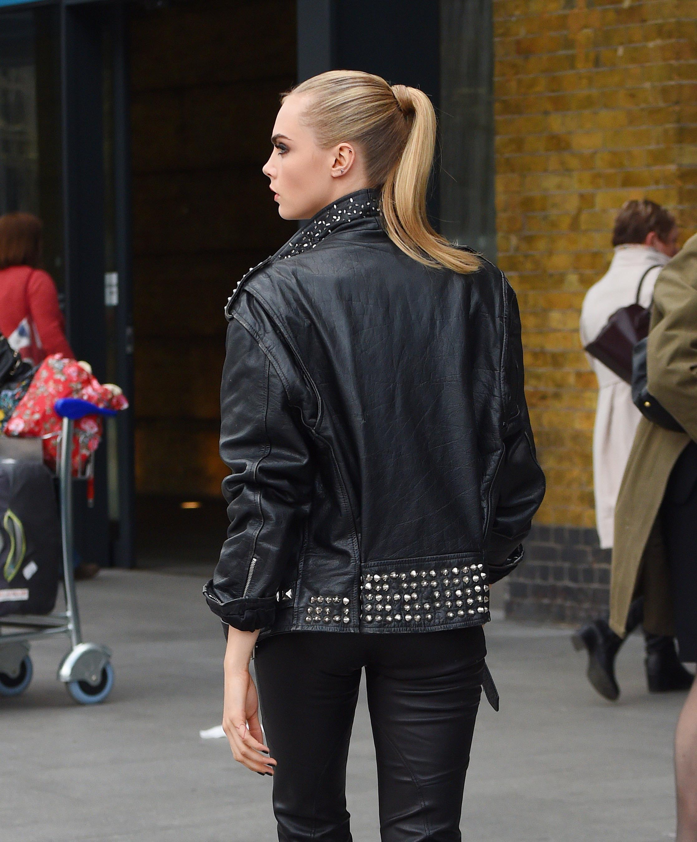 Cara Delevingne on set of a shooting for Rimmel London