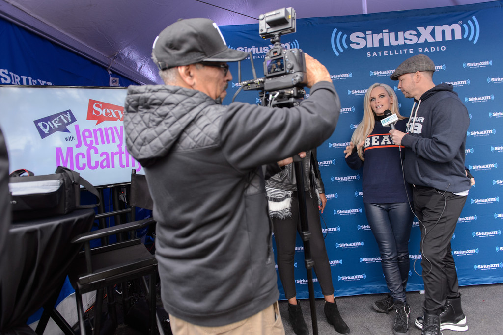 Jenny McCarthy at her SiriusXM show for the NFL Draft from Grant Park