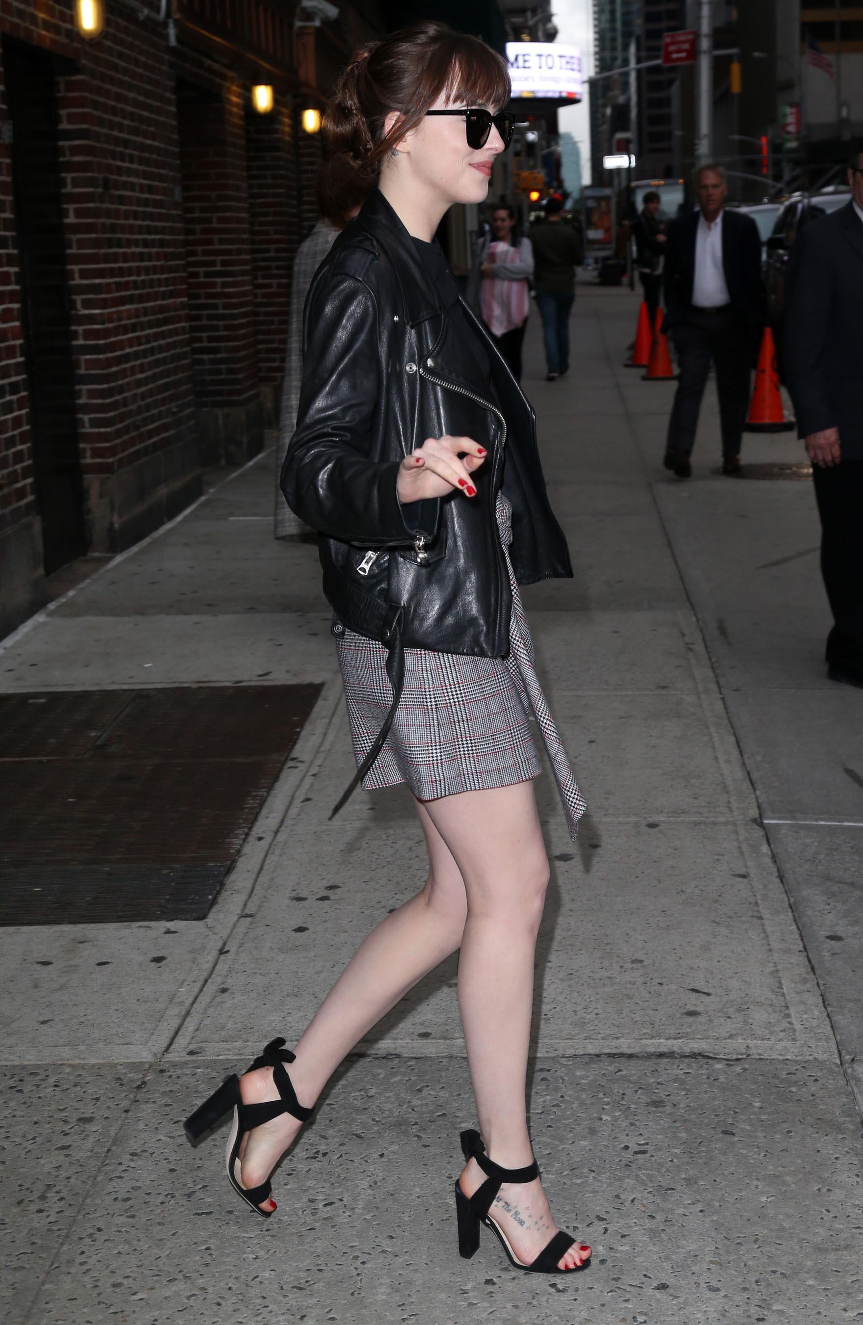 Dakota Johnson outside Late Show with Stephen Colbert
