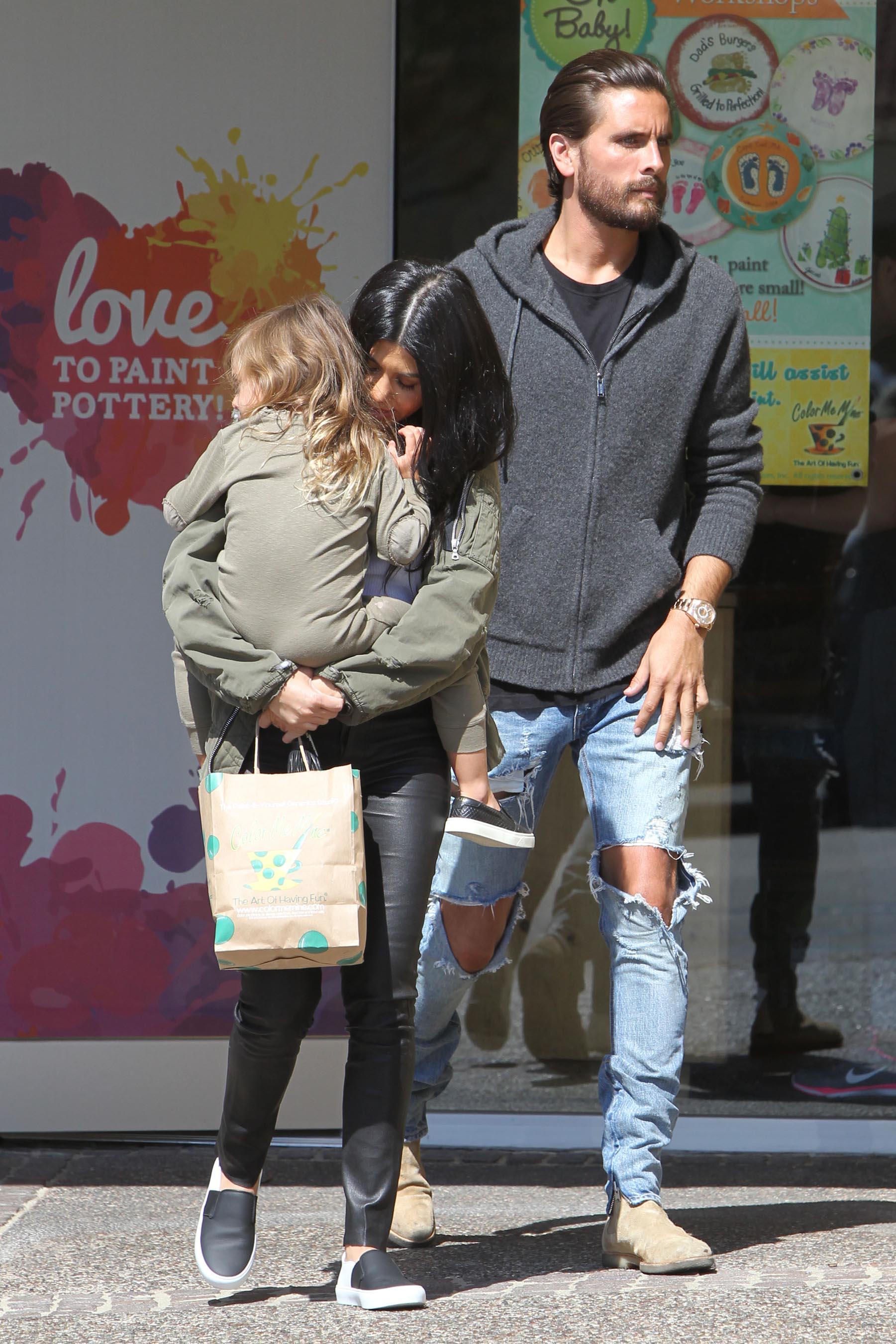Kourtney Kardashian is seen taking her daughter Penelope Disick to Color Me Mine