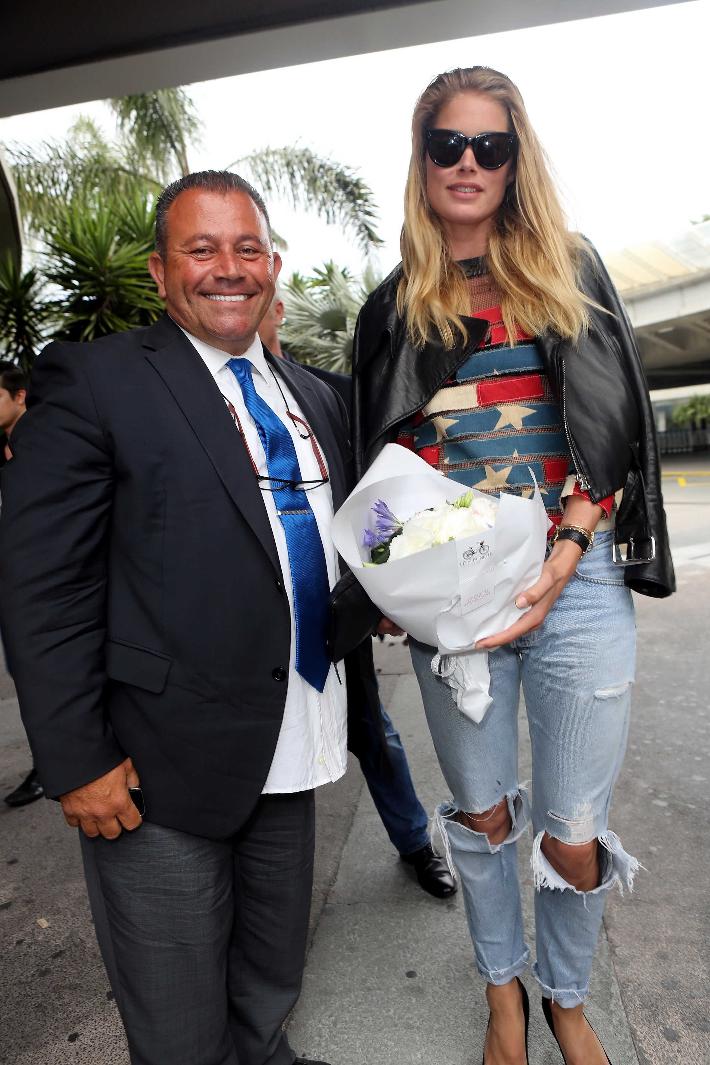 Doutzen Kroes arriving at the airport in Nice