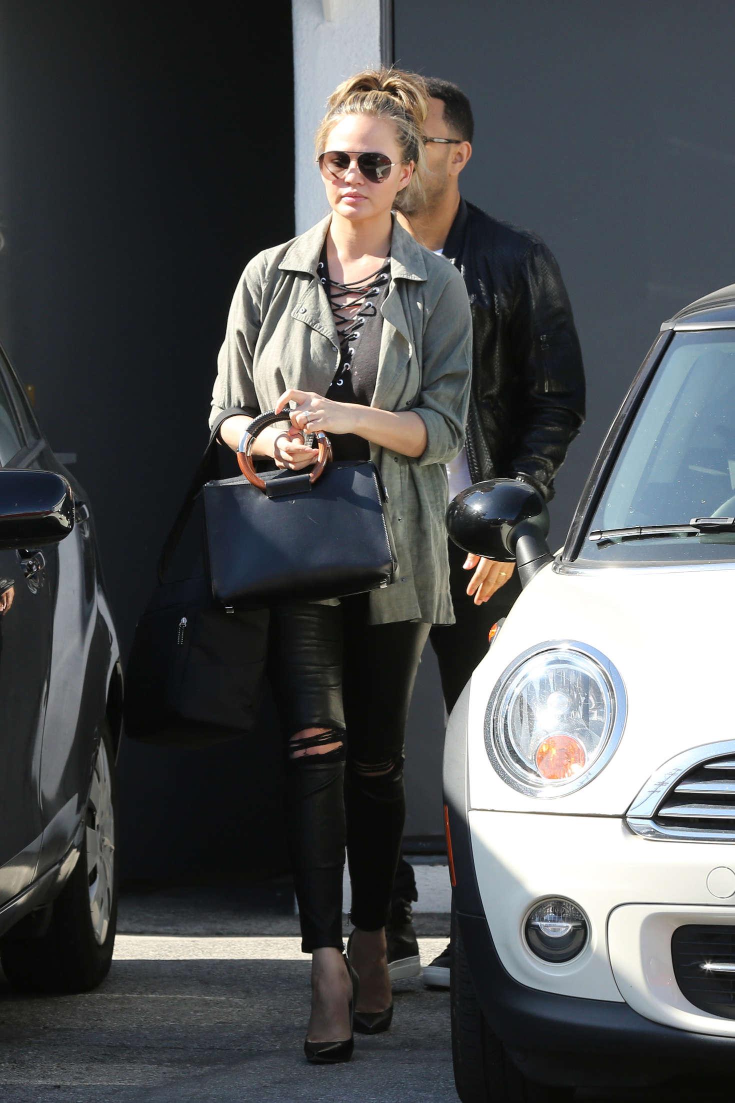 Chrissy Teigen leaves a salon in LA