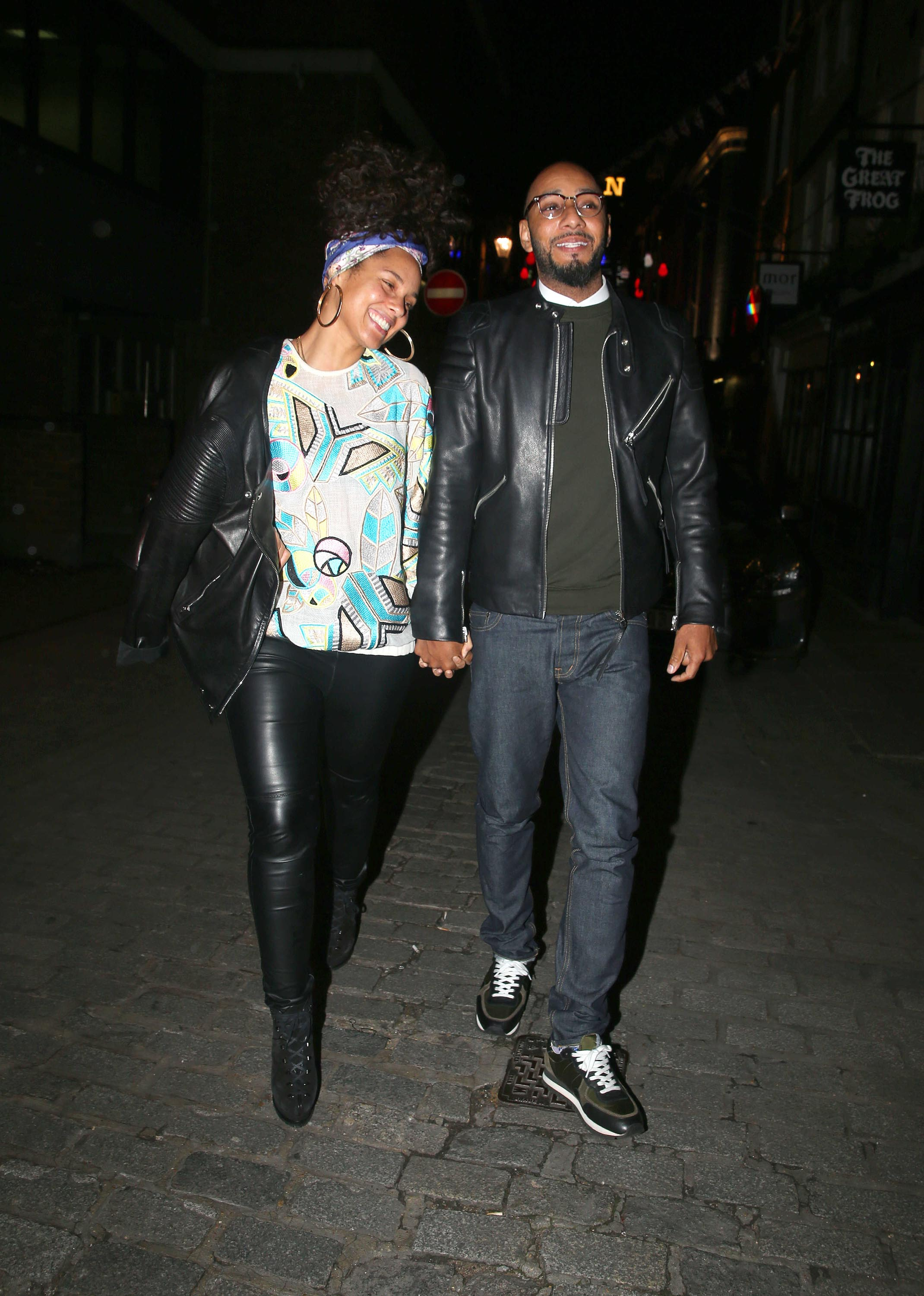 Alicia Keys leaving the Novikov Restaurant
