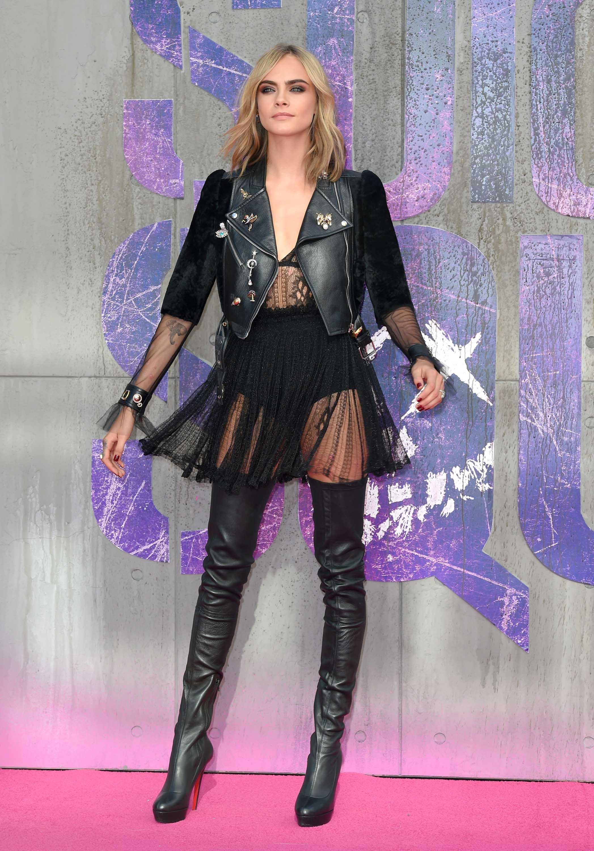 Cara Delevingne attends the Suicide Squad European Premiere